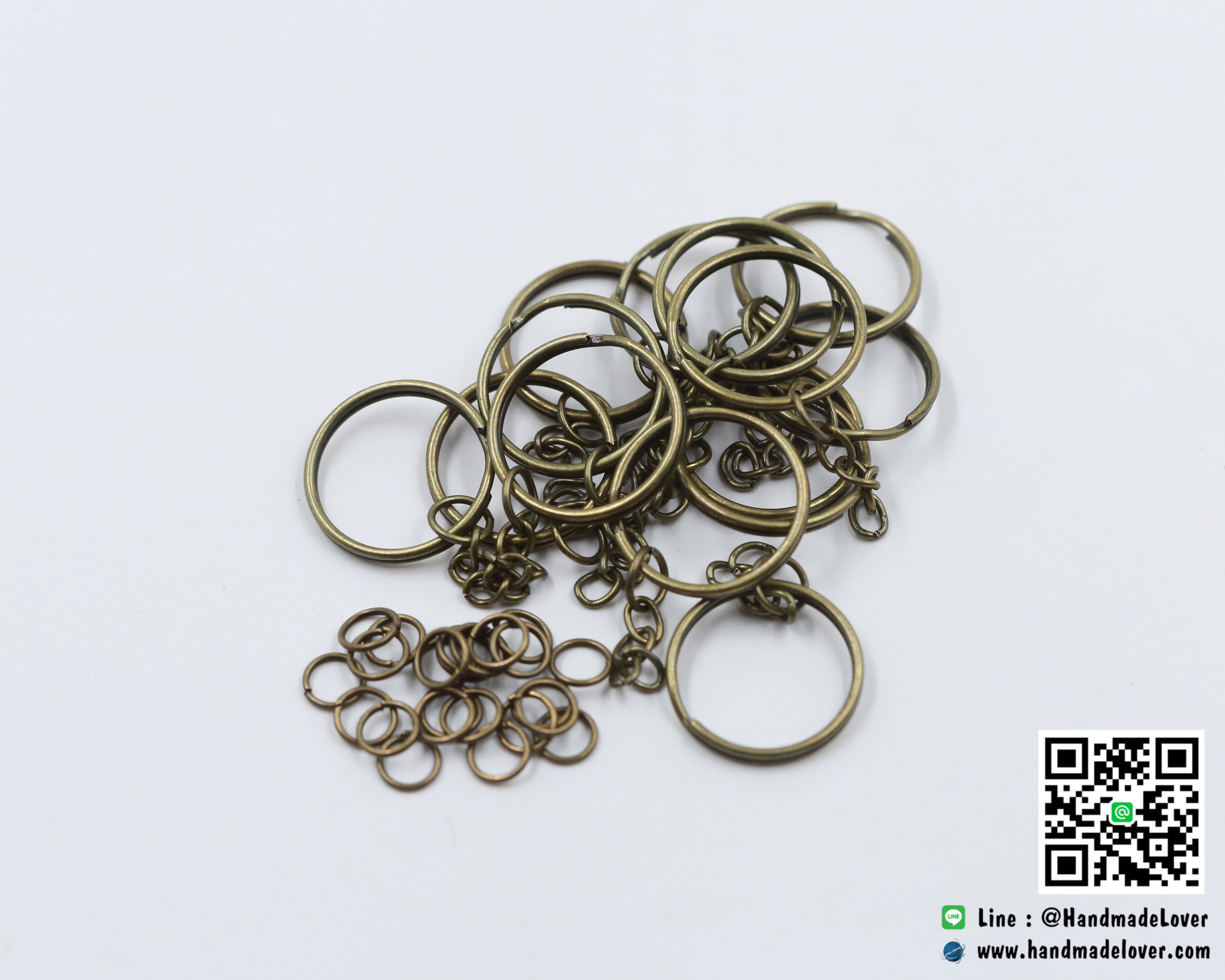 พวงกุญแจ สีทองรมดำ 2.4 ซม.