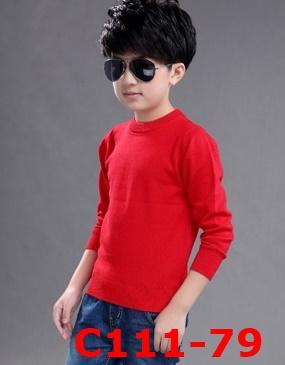 C111-79 เสื้อไหมพรมกันหนาวบุขนกำมะหยี่สีแดง สีสวยสด ใส่ได้ทั้งชายและหญิง size 120-170