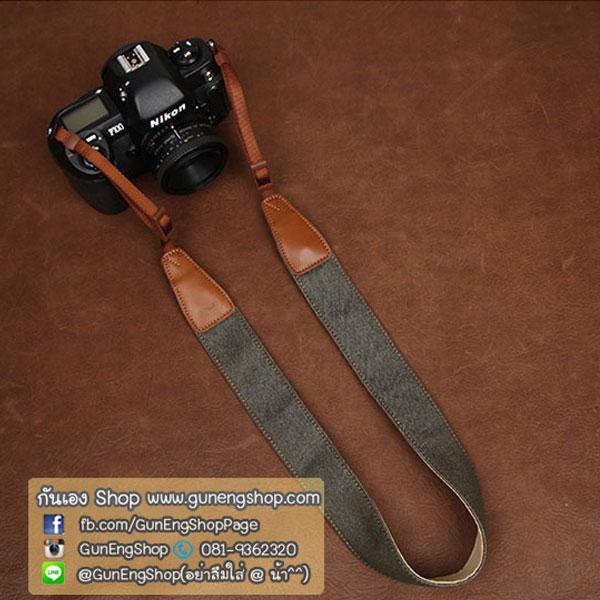 สายคล้องกล้องหนังแท้พื้นยีนส์ สีเทา
