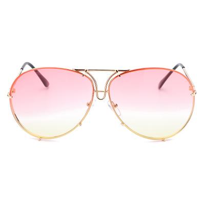 แว่นตา ฮาราจูกุ (Harajuku) สีแดง-ชมพู ไล่โทนสี กรอบสีทอง (UV400)