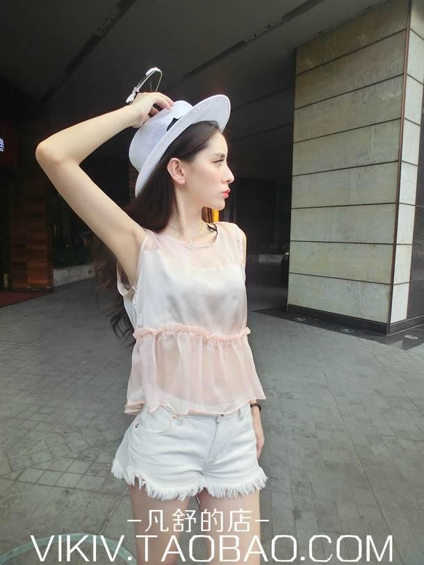 (SALE) เสื้อผ้าไหมสังเคราะห์ แต่งตาข่าย สีชมพู