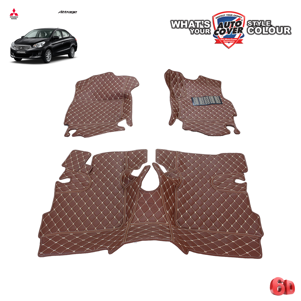 พรมรถยนต์ 6 D Leather Car Mat จำนวน 3 ชิ้น MITSUBISHI ATTRAGE