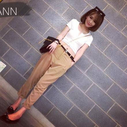 กางเกงฮาเร็ม ขายาว กระเป๋าข้าง สีกากี