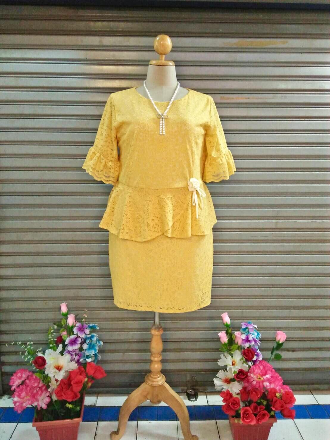 เดรส ผ้าลูกไม้ สีเหลืองทอง