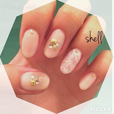 ลายเล็บ เปลือกหอย,shell nails,ลายเพ้นท์เล็บ เปลือกหอย