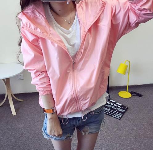 เสื้อคลุม แขนยาวผ้าร่ม มีฮูด ซิปหน้า สีชมพู (มีภาพจริง)