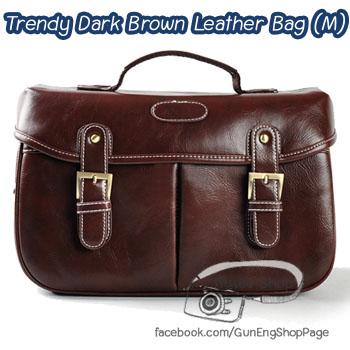 กระเป๋ากล้องวินเทจ Trendy Dark Brown Leather Bag (M)