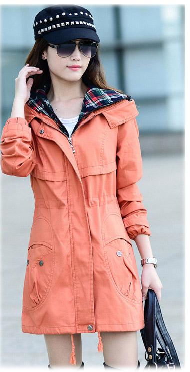 (สินค้าหมด) เสื้อโค้ทกันหนาวผู้หญิง เสื้อกันหนาวแฟชั่น สีส้ม ผ้าลายสก๊อต มีฮู้ด