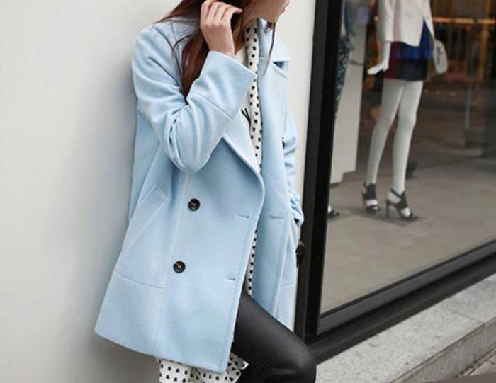 เสื้อโค้ทกันหนาวผู้หญิง สีฟ้า คลุมสะโพก ใส่เที่ยวต่างประเทศสวยๆ สำเนา