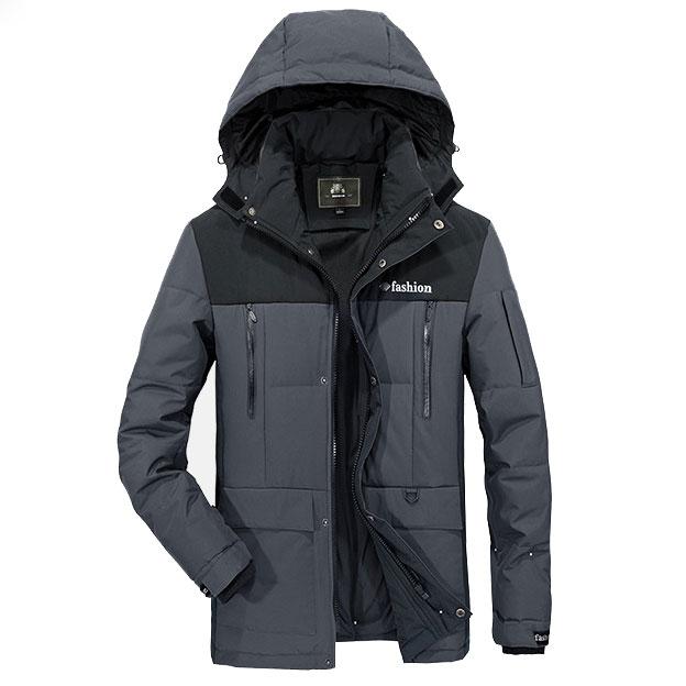 เสื้อกันหนาวผู้ชาย เสื้อแจ็คเก็ตผู้ชายมีฮู้ด สีเทาตัดดำ เท่ๆ ซับบุ จั้มข้อมือ