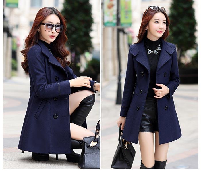 เสื้อโค้ทกันหนาวผู้หญิง สีกรม คอปก แต่งเว้าสวย ตัวยาวคลุมสะโพก