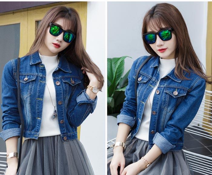 เสื้อยีนส์ผู้หญิง แจ็คเก็ตยีนส์ เสื้อคลุมยีนส์ สีน้ำเงิน แขนยาว คอปก แฟชั่นเกาหลี