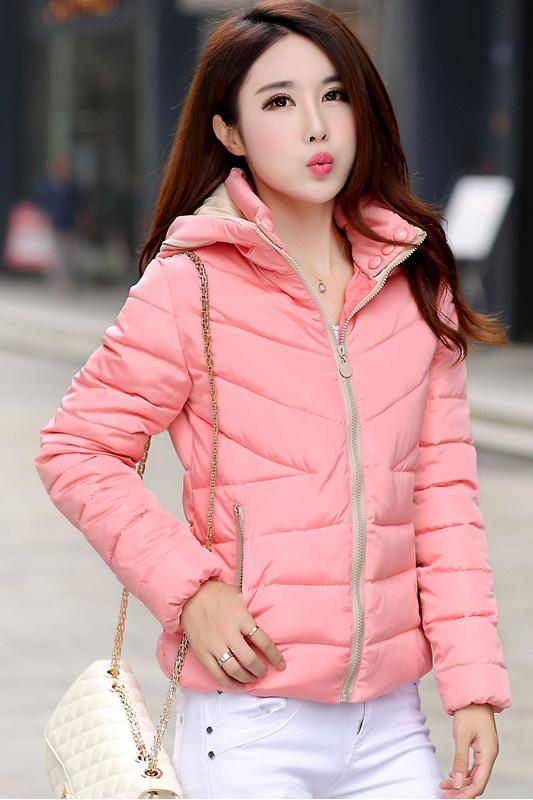 (สินค้าหมด) เสื้อกันหนาวผู้หญิงแฟชั่นเกาหลี สีชมพูโอรส หวานๆ แต่งซิบรูดสีครีม แต่งลายช่วงฮูท