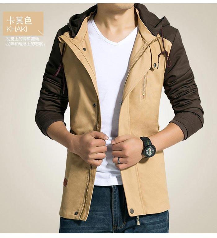 เสื้อแจ็คเก็ตผู้ชาย มีฮู้ดถอดได้ เสื้อกันหนาวผู้ชาย เท่ๆ สีกากี ตัดสีน้ำตาล
