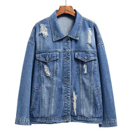 เสื้อยีนส์ผู้หญิง แจ็คเก็ตยีนส์ เสื้อคลุมยีนส์ สีน้ำเงินเข้ม แขนยาว คอปก Oversize