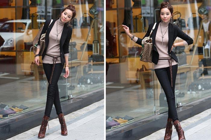 เสื้อสูทผู้หญิง เสื้อสูทแฟชั่น สีดำ แขนยาว คอปก ใส่ลำลอง หรือใส่ทำงานได้
