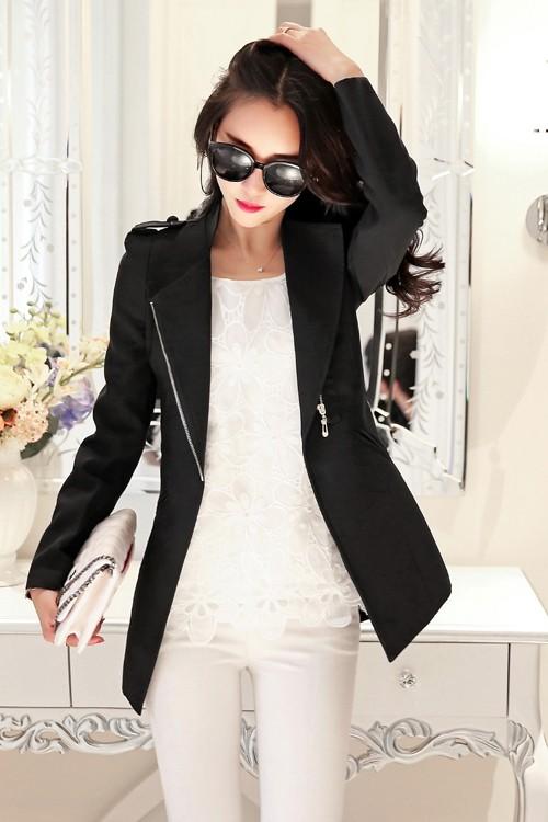 (สินค้าหมด) เสื้อสูทแฟชั่น เสื้อสูทผู้หญิง แขนยาว สีดำ ตัวยาวคลุมสะโพก