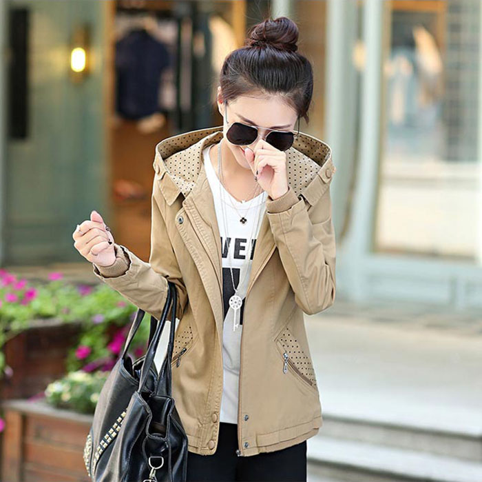 เสื้อกันหนาวผู้หญิงแฟชั่นเกาหลี สีเขียวทหาร แจ็คเก็ตมีฮู้ด ลายจุด ใส่กันลมสวยๆ