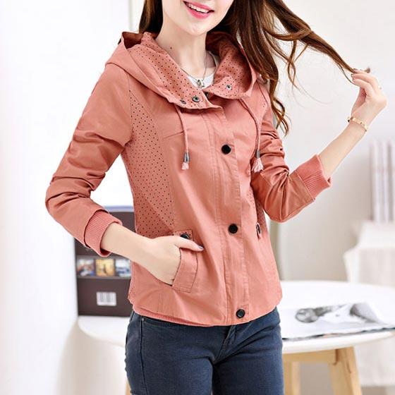 เสื้อกันหนาวผู้หญิงแฟชั่นเกาหลี สีชมพู แจ็คเก็ตมีฮู้ด ตกแต่งลายจุด สวยๆ