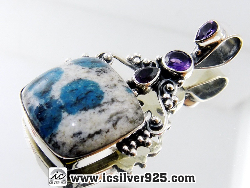 ▽K2 Blue (Azurite In Quartz) & Amethyst จี้เงินแท้ 925 (7.1g)