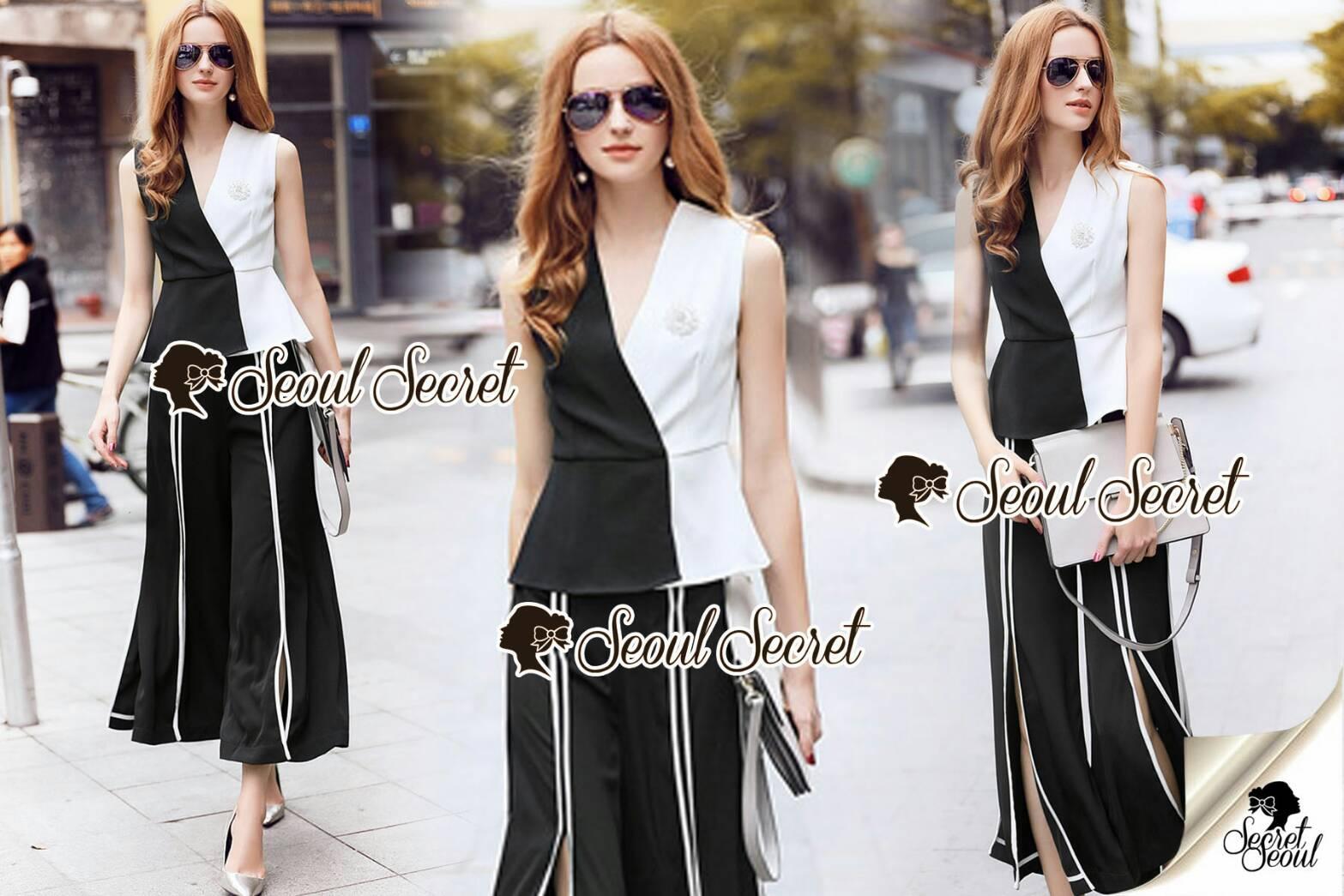 งานเซ็ทลุคสาวไฮโซ เสื้อทรงสวยด้วยทรงเสื้อเข้ารูป งานสวยด้วยดีเทลงานเย็บแต่งแบบสีทูโทนขาวดำ หรูหราด้วยเข็มกลัดเพชร