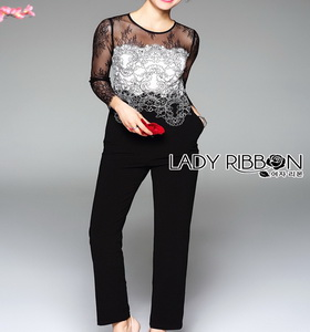 Lady Black & White Lace and Polyester Jumpsuit จัมป์สูมผ้าลูกไม้