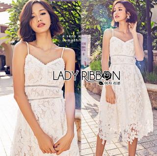 Lady Ribbon Online เสื้อผ้าออนไลน์ขายส่ง Lady Ribbon เสื้อผ้า LR07180816 &#x1F380 Lady Ribbon's Made &#x1F380 Lady Olivia Pure and Classic Strappy White Lace Dress