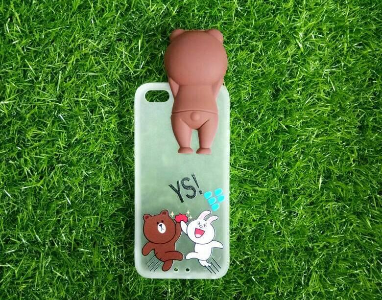 Tpu หมีน้ำตาลเกาะหลังลายหมีกระโดด (มีไฟ) iPhone 5/5s/5se