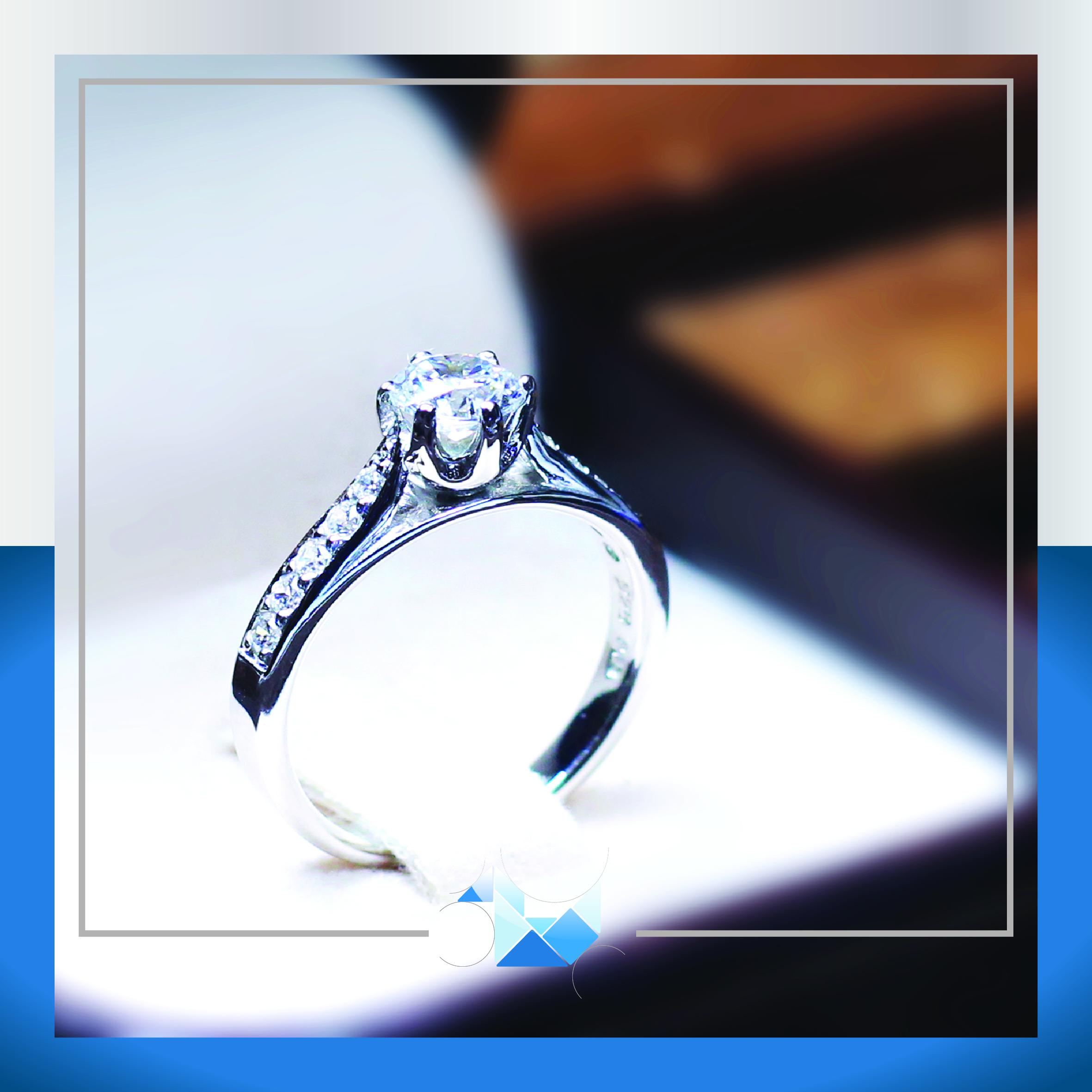 แหวนเงินแท้ เพชรสังเคราะห์ ชุบทองคำขาว รุ่น RG1526 5mm Cleo