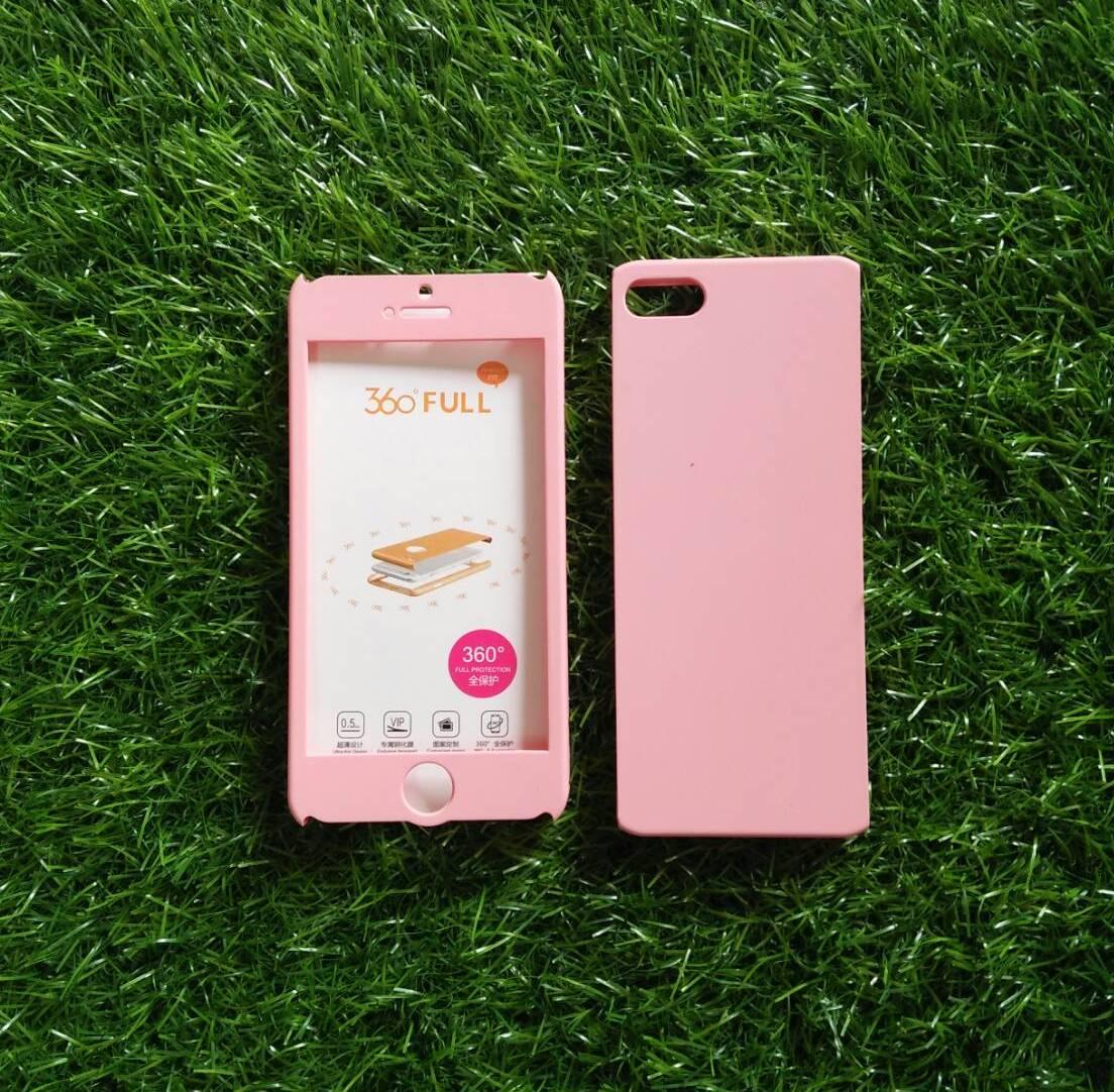 PC ประกบ360องศา+ฟิล์มกระจกสีชมพู iphone5/5s/se