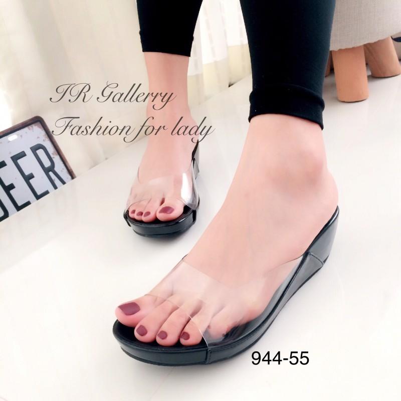 รองเท้าส้นเตารีดเปิดส้นสีดำ สไตล์ลำลอง พียูใสนิ่มไม่บาดเท้า (สีดำ )