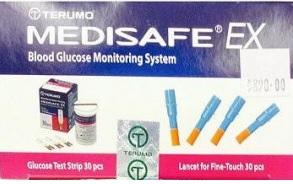 แผ่นตรวจน้ำตาล+เข็มเจาะเลือด ยี่ห้อ Terumo Medisafe EX