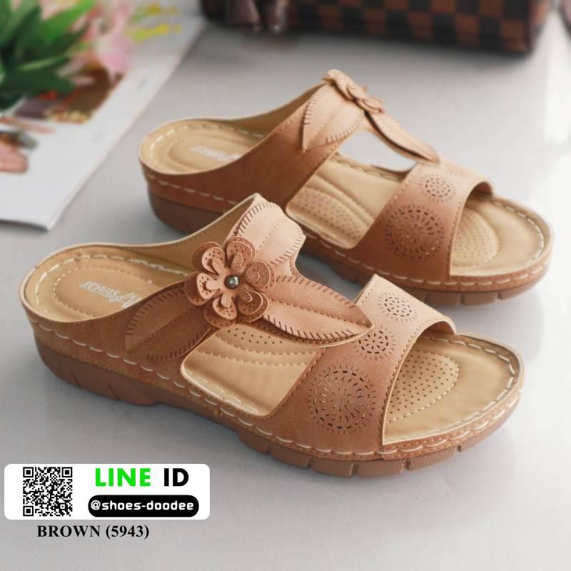 รองเท้าแตะ สไตล์วินเทจ 5943-BROWN [สีน้ำตาล]