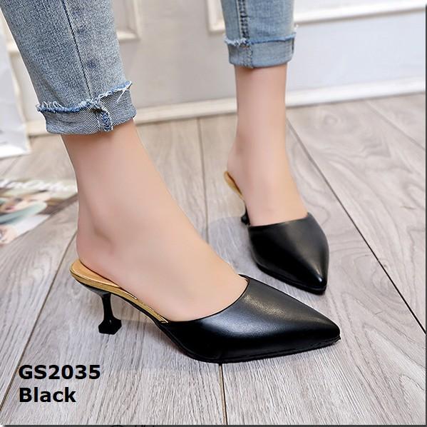รองเท้าส้นสูงหัวแหลมสีดำ เปิดส้น สไตล์เรียบหรู (สีดำ )