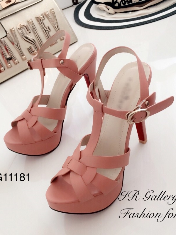 รองเท้าส้นสูง รัดข้อ สวยไฮโซ สไตล์YSL (สีชมพู )