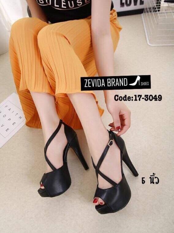 รองเท้าส้นเข็มหุ้มส้นสีดำ สายคาดไขว้ สไตล์เกาหลี (สีดำ )