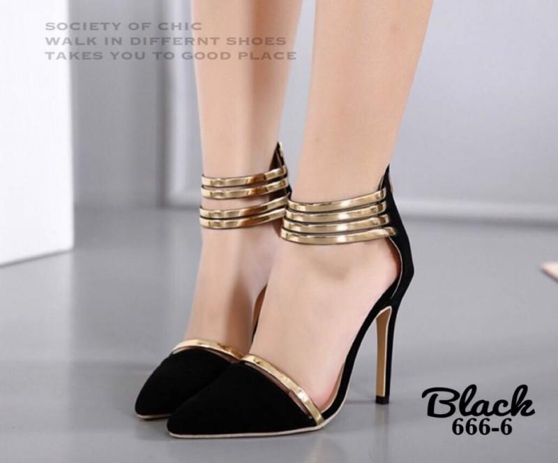 รองเท้าส้นเข็มรัดข้อสีดำ กำมะหยี่นิ่ม สายรัดข้อแบบห่วงปรอททอง (สีดำ )