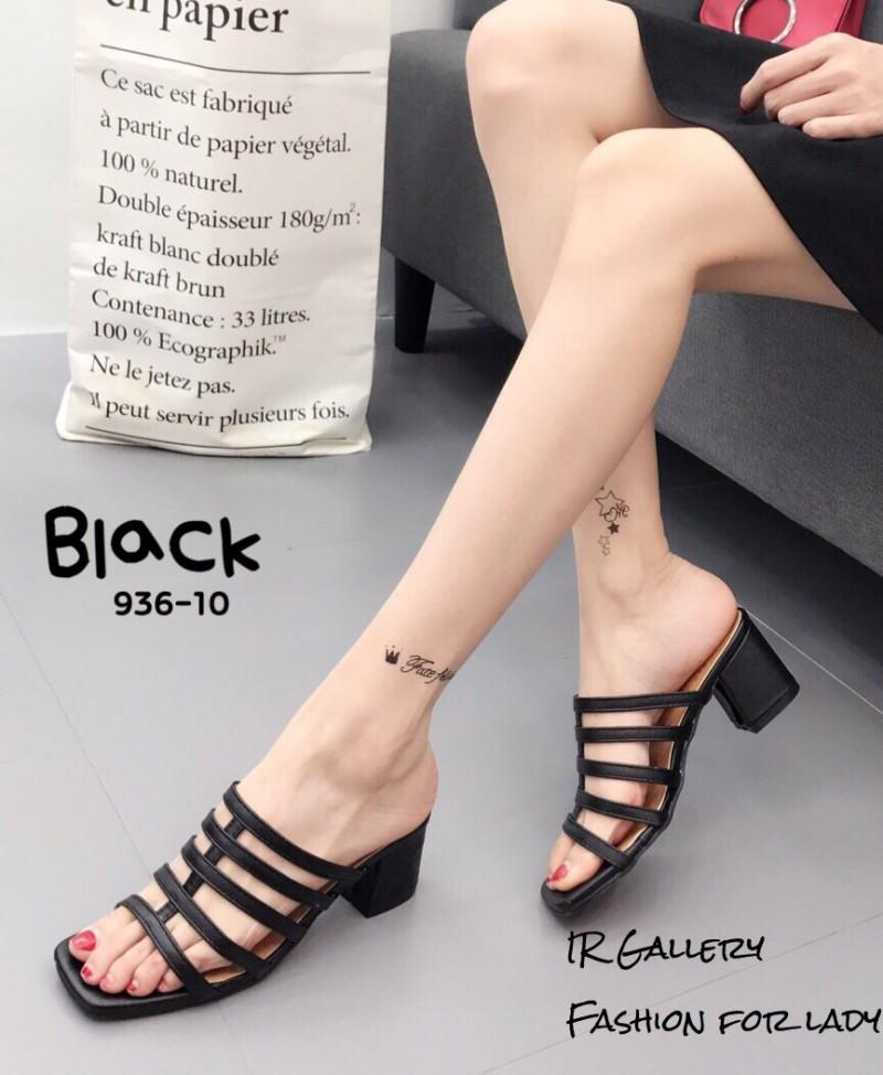 รองเท้าส้นตันสีดำ แบบสวม ดีไซน์งานเส้น (สีดำ )