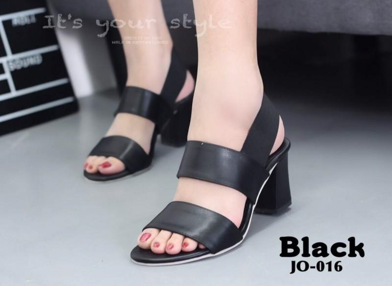 รองเท้าส้นตันรัดส้นสีดำ หนังนิ่ม สายคาดสองตอน (สีดำ )