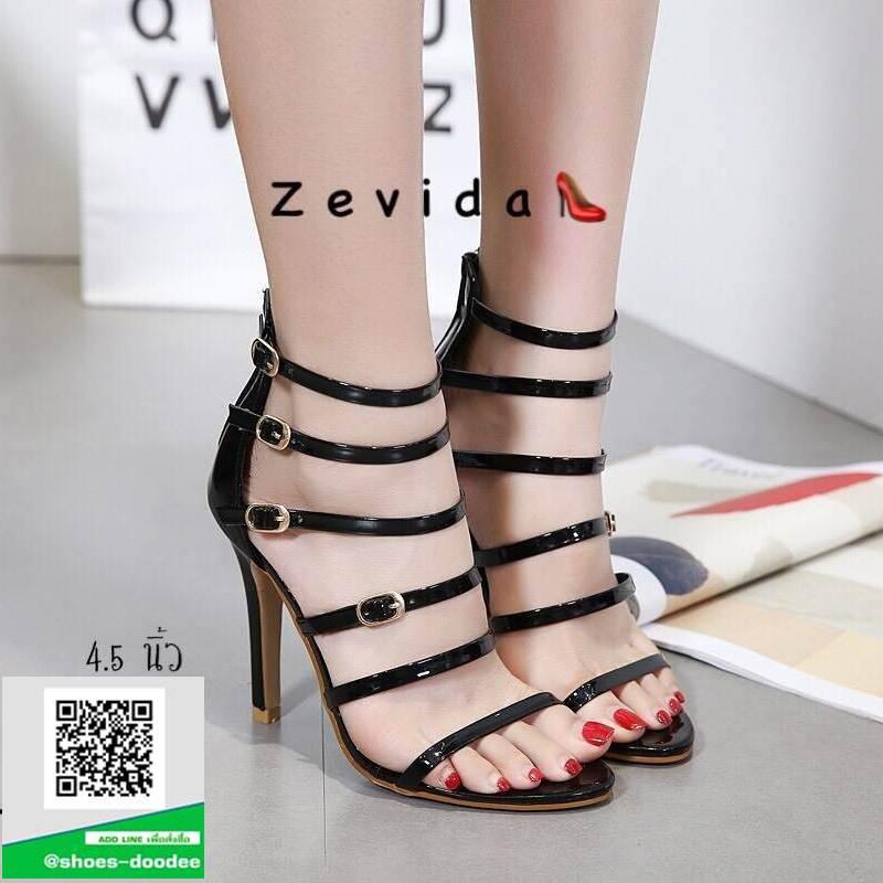 รองเท้าส้นเข็มรัดข้อสีดำ แบบซิปหลัง (สีดำ )