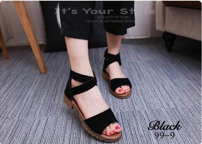 รองเท้าส้นเตี้ยรัดข้อสีดำ สายไขว้ยางยืด ซิปหลัง (สีดำ )