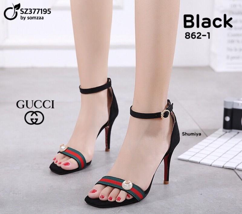 รองเท้าส้นเข็มรัดข้อสีดำ ผ้าสักหราด งานไสตล์ GUCCI (สีดำ )