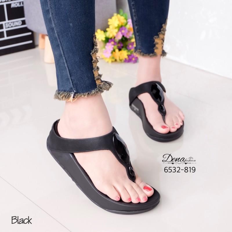 รองเท้าแตะเพื่อสุขภาพสีดำ แบบคีบ แต่งอะไหล่เพชรรูปวงรี (สีดำ )