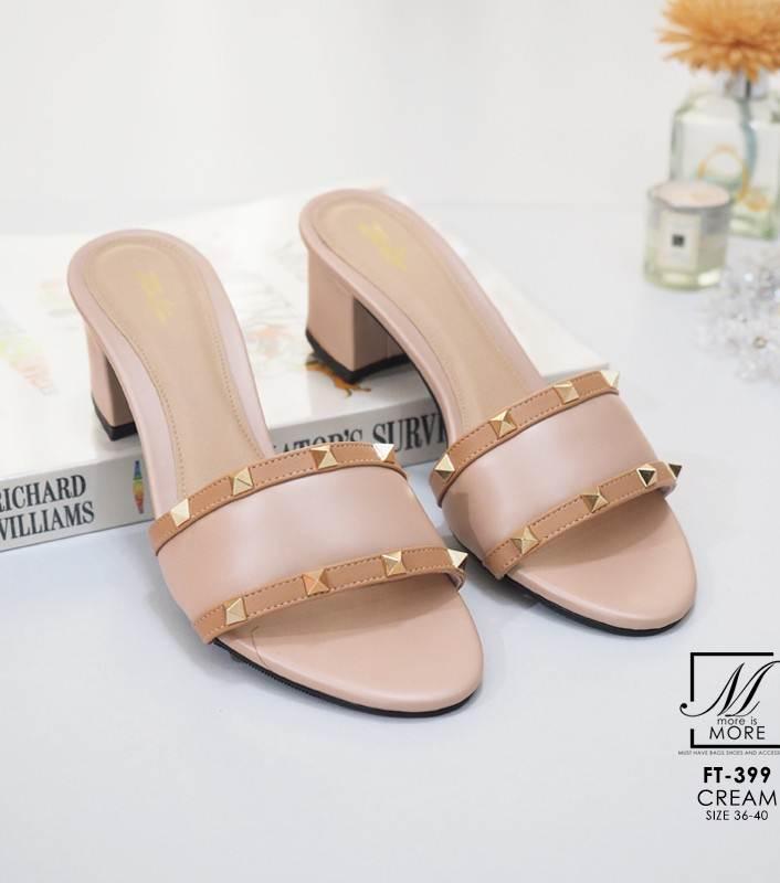 รองเท้าส้นตันเปิดส้นสีครีม style แบรนด์ valentino (สีครีม )