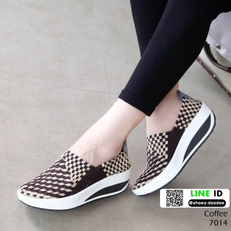 รองเท้าผ้าใบยางยืด 7014-กาแฟ [สีกาแฟ]