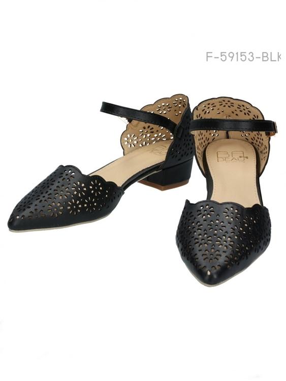 รองเท้าหัวแหลม ส้นแบน สไตล์เกาหลี (สีดำ)