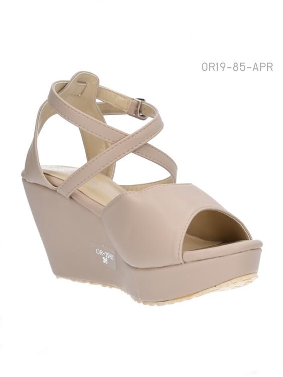 รองเท้าส้นเตารีดแบบรัดส้น ทรงPeep-Toe (สีแอปปริคอท )
