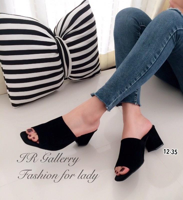 รองเท้าส้นตันเปิดส้นสีดำ ทรงสวม กำมะหยี่นิ่ม (สีดำ )