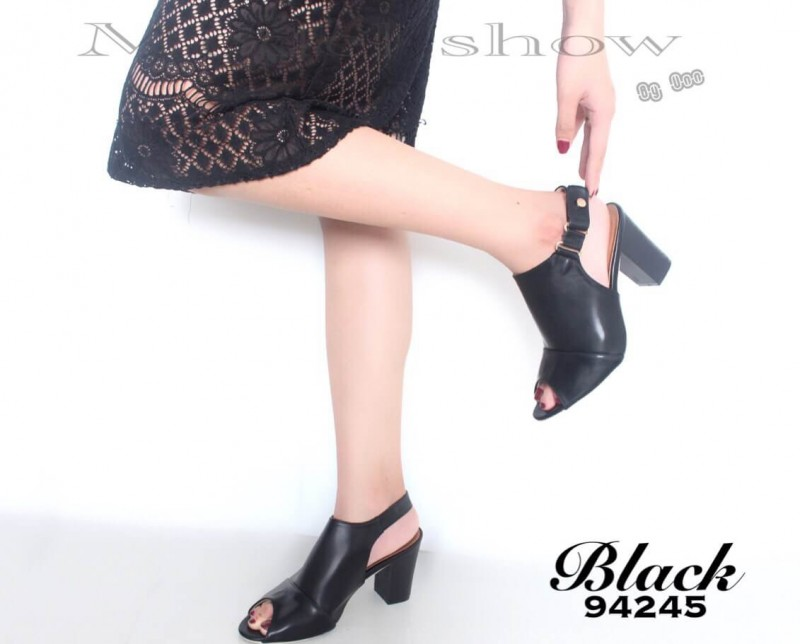 รองเท้าส้นตันรัดส้นสีดำ สไตล์ TOPSHOP (สีดำ )
