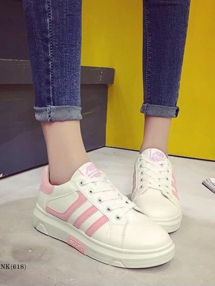 รองเท้าผ้าใบผู้หญิง แบบเชือกผูก (สีชมพู)